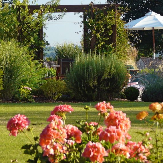 La pelouse anglaise with pergola by the pool. Garden designed by Carolyn Grohmann