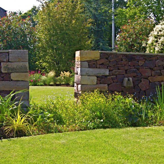 Drystone serpentine wall, designed by Carolyn Grohmann
