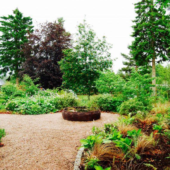 Bird bath, garden designed by Carolyn Grohmann