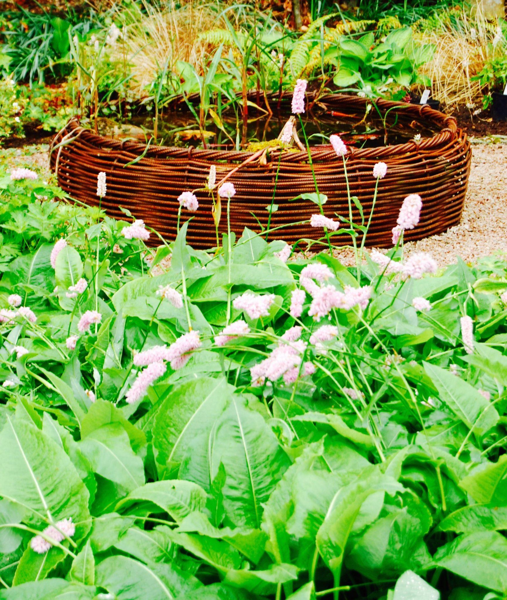 Basketweave bird bath by Ratho Byres Forge, garden designed by Carolyn Grohmann