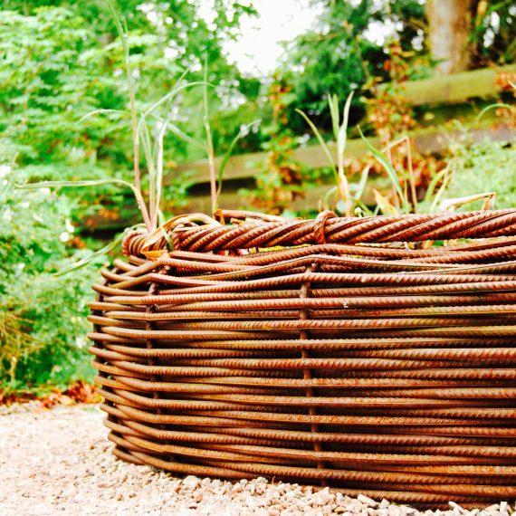 Basketweave rebar bird bath by Ratho Byres Forge