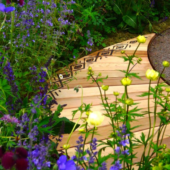 Gold Medal winner designed by Carolyn Grohmann, 2014 Gardening Scotland, built for the Freedom From Fistula Foundation Charity, built by www.watergems.co.uk, plants supplied by Binny Plants