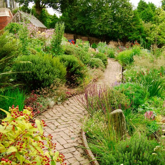 Traditional Victorian herbaceous borders with brick path, designed by Carolyn Grohmann