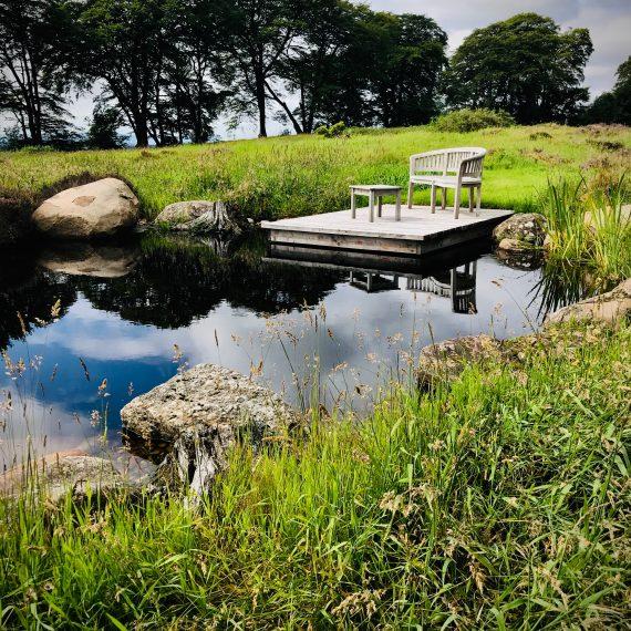 Wildlife pond with Scottish larch deck. Designed by Carolyn Grohmann