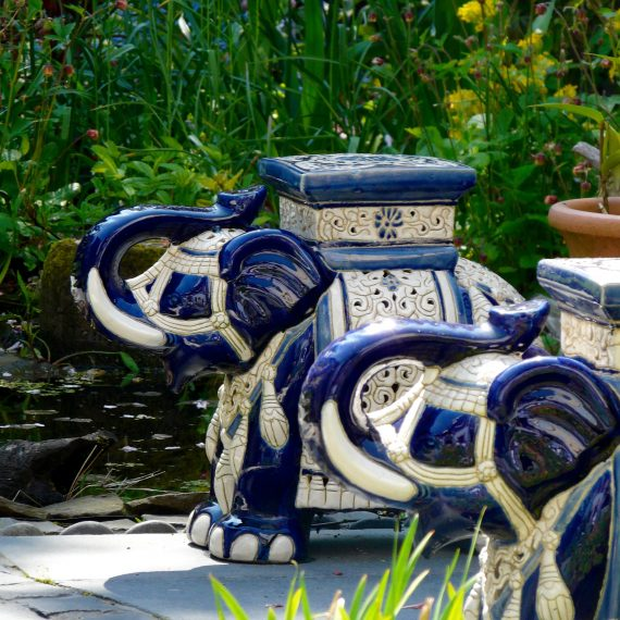 Garden ornaments, Kate Atkinson's garden, designed by Carolyn Grohmann