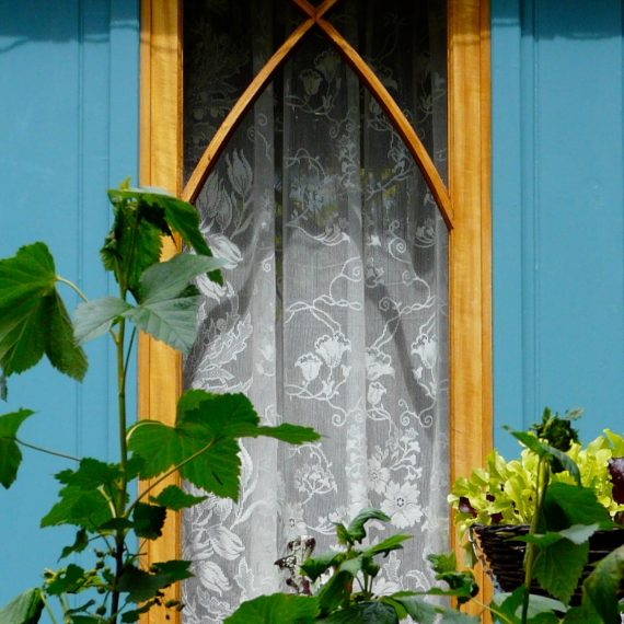 Gothic windows, Kate Atkinson's writing den, designed by Carolyn Grohmann