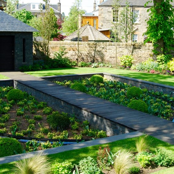 Sunken garden and boardwalk, Merchiston garden designed by Carolyn Grohmann