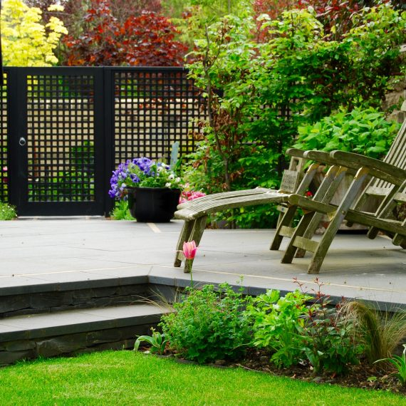 Black basalt paving and steps, designer Carolyn Grohmann