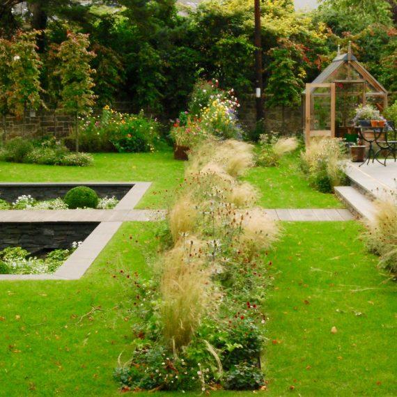 Sunken garden, rill water feature, Gabriel Ash greenhouse, garden designed by Carolyn Grohmann