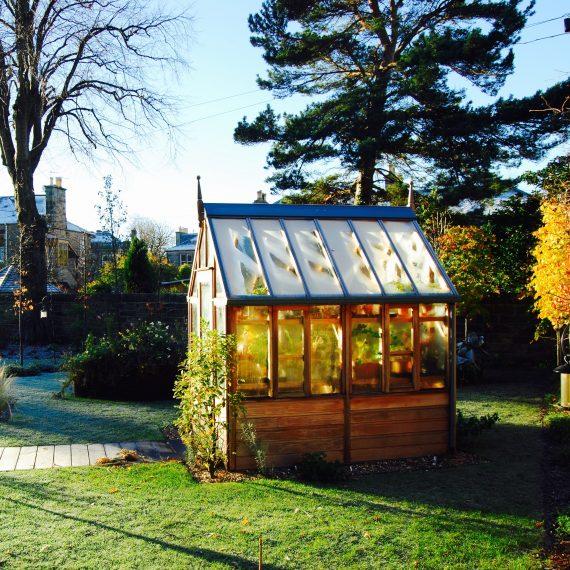 Frosted Gabriel Ash greenhouse, garden designed by Carolyn Grohmann
