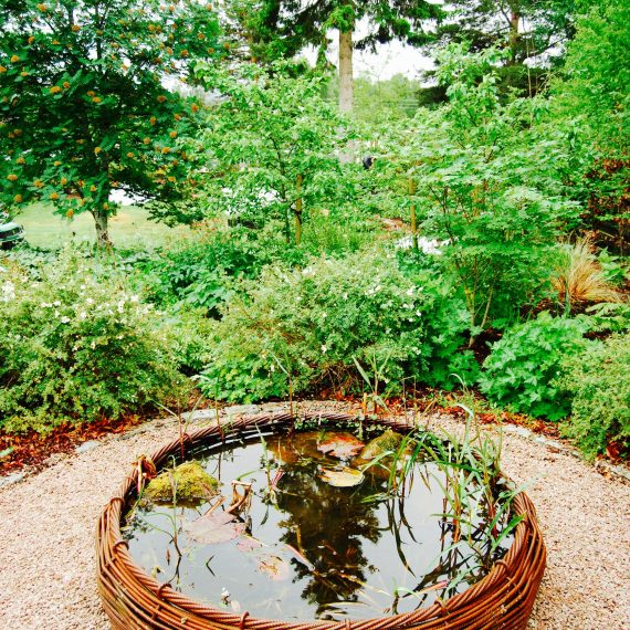 Basketweave rebar bird bath by Ratho Byres Forge