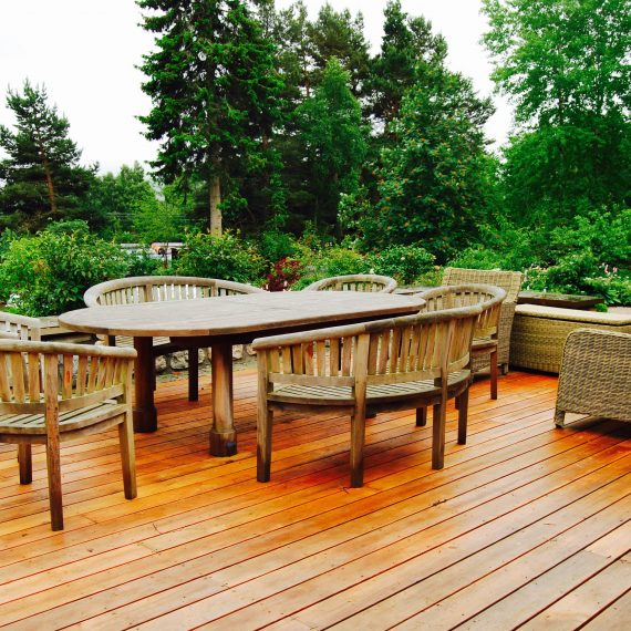 Cedar deck overlooking garden, designed by Carolyn Grohmann