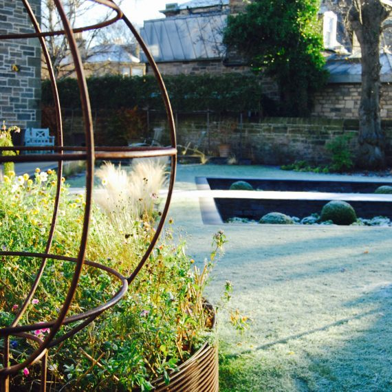 Rear garden in winter, designed by Carolyn Grohmann