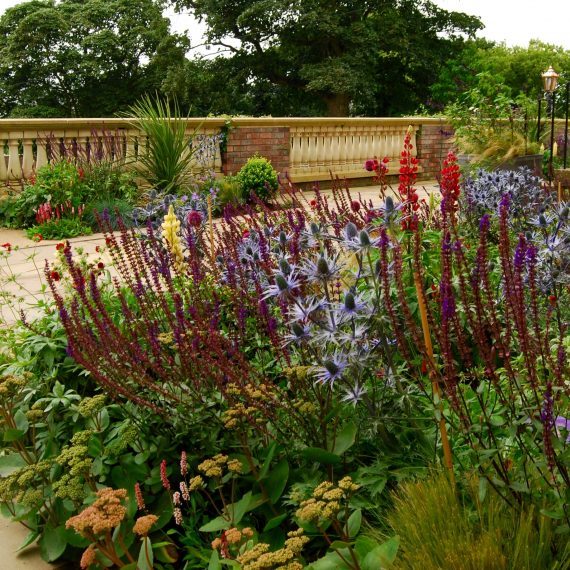 Top terrace with herbaceous borders, designed by Carolyn Grohmann