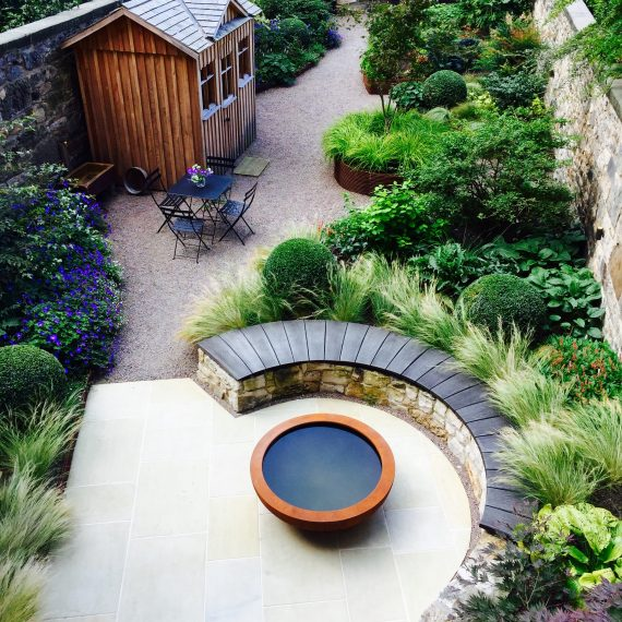 Eton Terrace garden, designed by Carolyn Grohmann, built by Water Gems, Urbis lily bowl