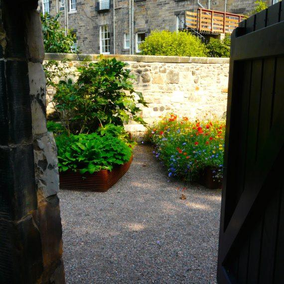 Woven rebar raised beds, Eton Terrace garden designed by Carolyn Grohmann